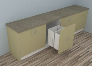 Twin Bin Drawers in CabMaster